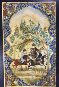 Hand Painted Persian Iranian Mughal Miniature Oil Painting Polo Players Isfahan