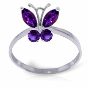 Genuine Purple Amethyst Gemstones Butterfly Ring 14K Yellow, White or Rose Gold