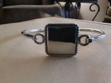 Square Monogram Ready .925 Sterling Silver Bangle Bracelet- Free Shipping