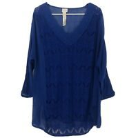 CHICO'S Women's Size XL Royal Blue Lace Open-knit Overlay Tunic Top 3/4 Sleeve