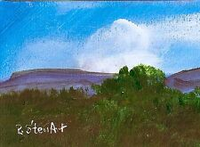 ACEO Blue Skies Clouds Trees Mountain #Painting Landscape Art Penny Lee StewArt