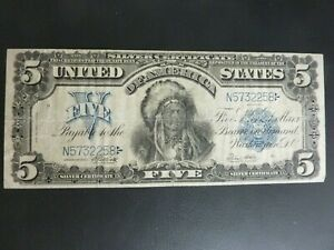 "1899 $5 ""Chief"" Federal Reserve Note Legal Tender Elliott/White VF+++ MINT!!!!"