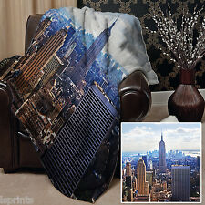 NEW YORK DESIGN SOFT WARM FLEECE BLANKET COVER THROW OVER LARGE CHAIR BED SOFA