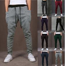 GRAY L Casual Jogger Dance Harem Sport Pants Baggy Slacks Trousers Sweatpants