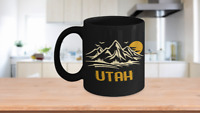 Utah Mountains State Souvenir Coffee Mug- Retro Ski Gift Cup- National Park