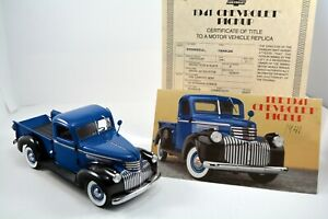 DANBURY MINT RARE 1941 CHEVOLET PICKUP BLUE & BLACK W/Cert/Title no Box