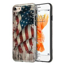 iPhone 7 / 8 - Hard TPU Gummy Rubber Skin Case Cover Patriotic USA American Flag