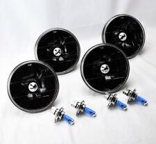 "FOUR 5.75"" 5 3/4 Round H4 Black Glass Headlight Conversion w/ Bulbs Set Chevy"