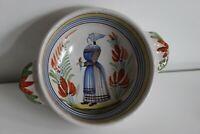 Grand Bol à Oreilles Décor Bretonne PORQUIER QUIMPER Old Bowl XIXe
