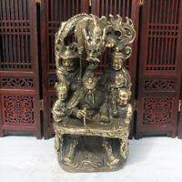 Collect Fengshui bronze copper Warrior Guan Gong Yu Sword dragon write Statue