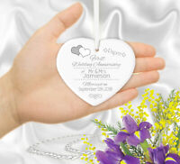 Personalised Wedding Anniversary Gift ANY YEAR Hanging Heart Ornament Keepsake