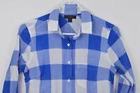 J Crew Tunic Shirt sz 00 Long Sleeve Button Up Cotton Womens Plaid Blue White