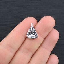 8 Buddha Charms Antique Silver Tone - SC428