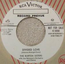 "(45 Promo) (Hear) The Burton Sisters - ""Divided Love"" - Girl Group / Pop (1955)"