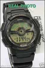 Casio Ae-1100w-1bv World Time 100m WR Watch Map 5 Alarms 10 Year Battery