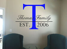Wall Decal Family Name & Established Date  Multi Color