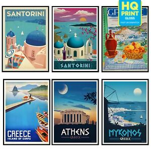 Vintage GREECE Travel Retro Posters Prints WALL Art Tourism Holiday Home Decor