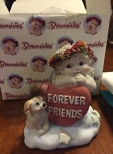 Dreamsicle Forever Friends Cherub with dog and forever friends heart #10276