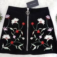 NEW ZARA SS17 SUEDE MINI SKIRT WITH EMBROIDERY FLOWERS BLACK REF 4369/043 SIZE S