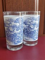 "Currier and Ives Juice Glasses Vintage 5"" set of 2"