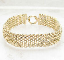 "8"" Diamond Cut Basket Braided Woven Mesh Bracelet Real Solid 14K Yellow Gold QVC"