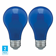 2 Pack CERAMIC BLUE LED Bulb A19 Medium E26 8W 60 Watt Equivalent Damp Location