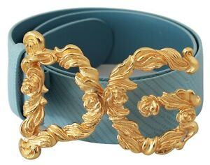 DOLCE & GABBANA Belt Blue Leather Gold DG Buckle Women 65cm / 26in RRP $700