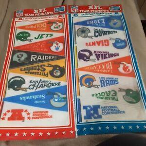 Vintage NFL Football 28+ Mini Pennant Lot new unopened AFC + NFC 70's-80's