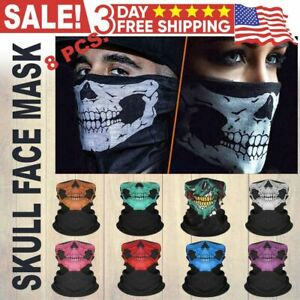 8 Pack Halloween Skull Bike Motorcycle Face Cover Neck Gaiter Balaclava Bandanas