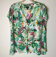 Worthington Women's Top Size XXL Short Sleeves Floral Tropical Casual Work