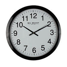 Black & White Wall Clock SILENT Sweeping Movement Non Ticking 40cm