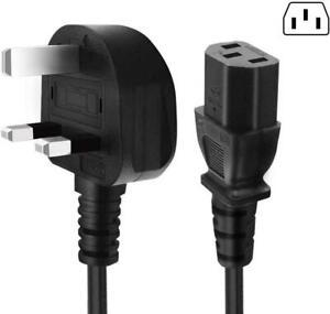 Kettle Power Lead IEC Cable 3 Pin UK 6 AMP Plug PC Monitors Printers C13 Cord 2M