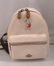 NWT COACH Disney X Mickey Mouse Chalk Leather Mini Charlie Backpack 59837