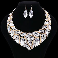 Women Austrian Clear Crystal Party Jewelry Set Flower Statement Necklace Earring