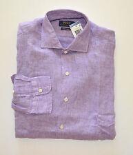 NWT Men's Ralph Lauren Linen Casual Long-Sleeve Shirt, Purple, L, Large
