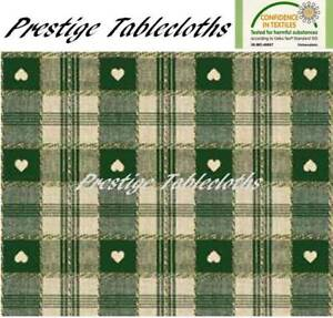 Green Heart Check PVC Vinyl Wipe Clean Tablecloth - ALL SIZES - Code: C57-2
