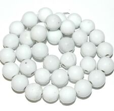 CPC191 White 12mm Round Porcelain Beads 35pc