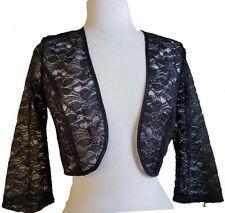 Black  Lace Bolero Jacket  3/4 Sleeve  with sequin Wedding/Bridal,Prom *L