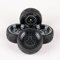 4PCS 12mm Hex For HPI HSP RC Drift Car 1:10 On Road Racing Rubber Tire&Wheel Rim