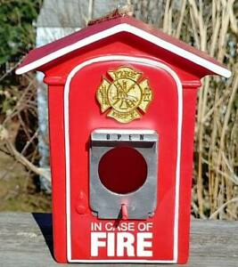 FIRE ALARM BOX Birdhouse and Feeder.  Firefighters Birdhouse FIRE ALARM BOX