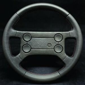 VW GTI JETTA GOLF MK1 MK2 Steering Wheel Leather Perforated Red Stitching Sport