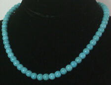 8MM Blue Turkish Turquoise Bead Necklace NEW (in a gift bag)