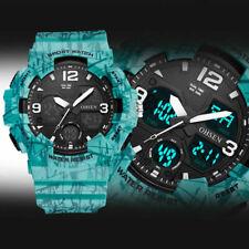 Reloj de pulsera OHSEN para Hombres Digital Doble Hora Cuarzo Deporte de buceo Táctica Impermeable