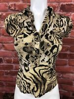 Cache Womens Leopard Short Sleeveless Pearl Snap Pullover Top Small E13