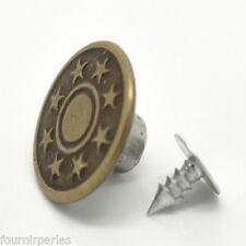 125 Sets Boutons Etoile Metal Jean Tack Couleur Bronze 17x8mm FP