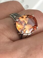 LARGE CITRINE STERLING SILVER RING