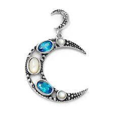 925 Sterling Silver Mother of Pearl & 0.40 Carat Blue CZ Moon Pendant