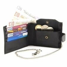 10xgents Wallet With Security Chain Soft Smooth Sheep Nappa Leather Black