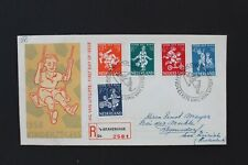 NEDERLAND 1958 Aangetekende  FDC kinderzegels  naar Zwitserland NVPH 36