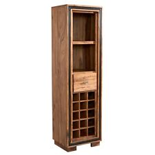 Slim Bookcase With Wine Rack Stone Sheesham Collection SN10